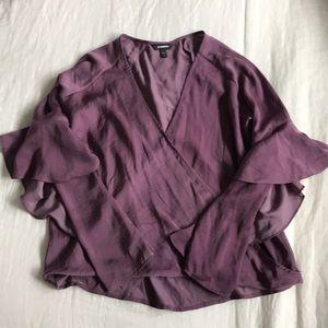 express ruffle sleeve blouse in plum purple.